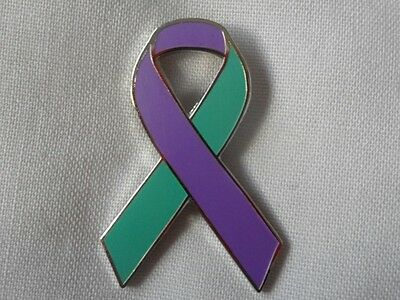 Suicide Awareness / Prevention enamel purple & teal ribbon badge / brooch.