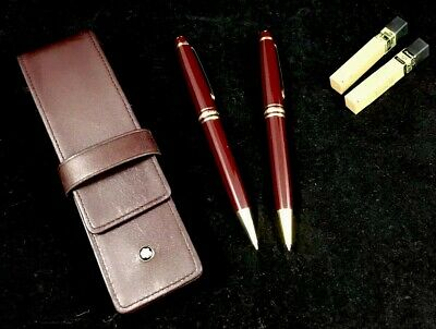 Mont Blanc - Roller Pen & Pencil Set in leather pouch - Bordeaux with gold trims