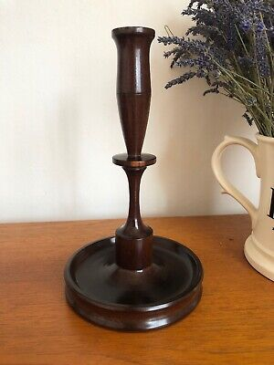 Vintage Antique Solid Dense Heavy Turned Wood Single Candlestick