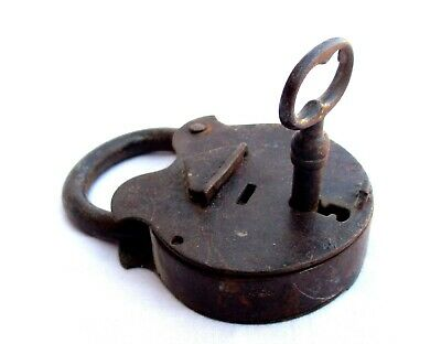 19th Century - Antique Iron Handmade Padlock with Key,  Working Condition!