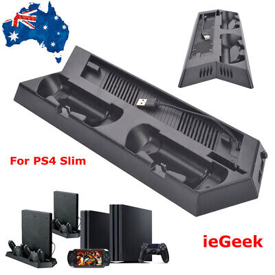 For PS4 Slim Charging Station Cooling Fan Dock 2x USB Dual Controller Charger AU