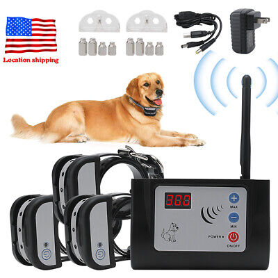 Wireless Rechargeable 1/2/3 Dog Fence Kit Pet Training Collar Containment System