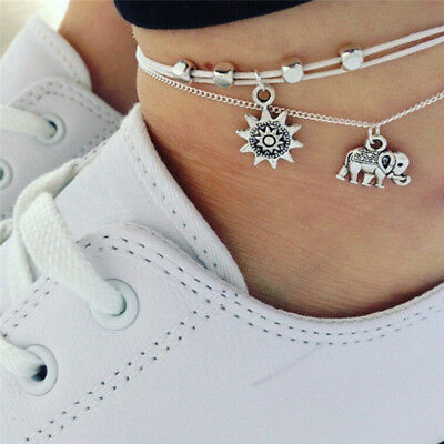 Bohemia Elephant Sun Pendant Anklet Foot Chain Anklet Barefoot Beach Jewelry  I