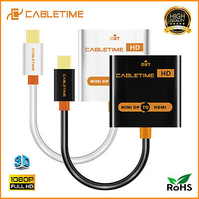 Cabletime Thunderbolt Male-Female HD Mini Display Port to HDMI Adapter for TV