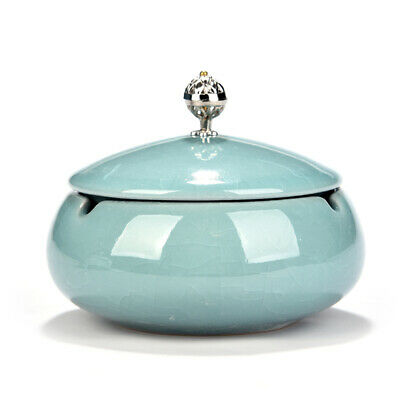 Ceramic Round Ashtray with Lid Beautiful Cigar Ashtray for Home & Office-Blue