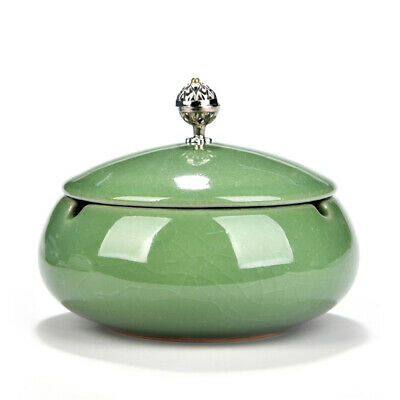 Ceramic Round Ashtray with Lid Beautiful Cigar Ashtray for Home & Office-Green