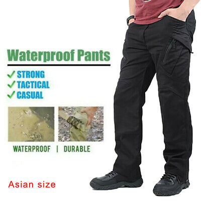 Men Soldier Tactical Pants Waterproof Work Long Pants Pockets Loose Trouser X