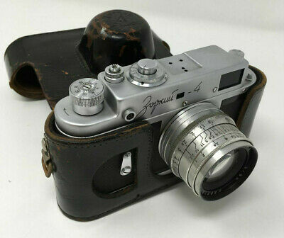 Vintage Zopkuu -4 Zorki Camera with Leather Case Made in Russia
