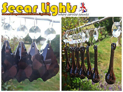 Black Chandelier Glass Crystals Drops Prism Beads Droplets Feng Shui Sun Catcher