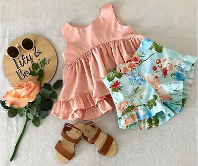 Toddler Kids Baby Girl Outfits Clothes T-shirt Tops+ Floral Pants 2PCS Set