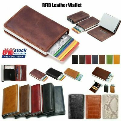 Men Antitheft Wallet RFID Blocking Pop-up Leather Card Holder Metal