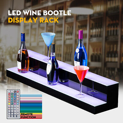 "40"" 2 Step Tier LED Lighted Back Bar Glowing Liquor Bottle Display Shelf Stand"