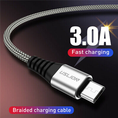 USLION Fast Charger Micro USB Cable Strong Braided for Samsung S7 S6 Huawei HTC