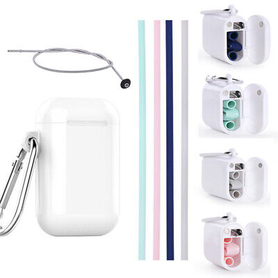 Portable Foldable Reusable Silicone Drinking Straws With Case Cleaning Brush New