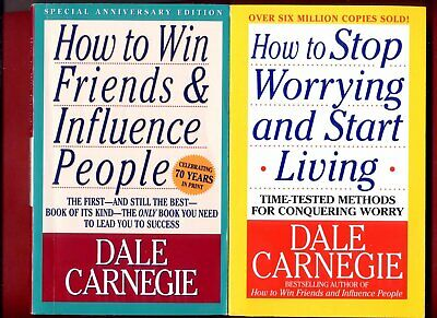 2 books by Dale Carnegie: How to Win Friends   How to Stop Worrying - Free Ship!