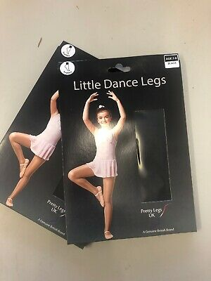 2 Pairs Pretty Legs Black Footless Dance Tights Age 7 To 9