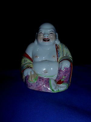 Antique China Porcelain Laughing Seated Buddha Statue Marked