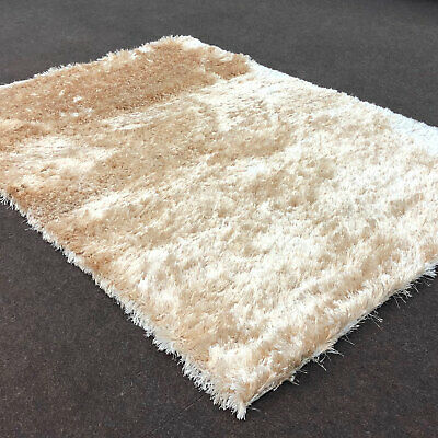 MODERN FLUFFY SPARKLE CHAMPAGNE BEIGE RUG SHAGGY COSY THICK 6cm LOW COST RUG