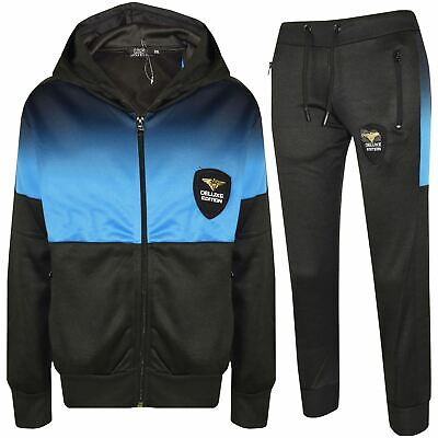 Kids Boys Girls Tracksuit Deluxe Edition Blue Two Tone Panelled Top Jogging Suit