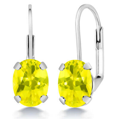 3.20 Ct Oval Canary Mystic Topaz Silver Plated Brass Lever Back Earrings