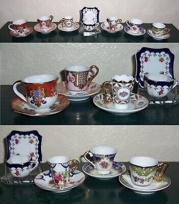 7 Miniature Porcelain Teacups Saucers LOT-Japanese Jixiang Samples-Chen Ching HK