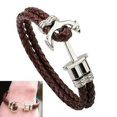 Leather Braided Bracelet Men Silver Plated Surfer Anchor Braided Knitting Charm