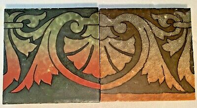 "TWO American Encaustic ""RAVENNA"" Tile Arts Crafts 1910 6"" x 6"" Square"