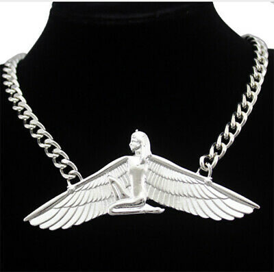 NEW Egyptian Pharaoh Winged Goddess Isis Choker Silver Curb Chain Necklace