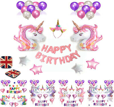 Unicorn Happy Birthday Foil Balloons Helium Banner Bunting Self Inflating Party
