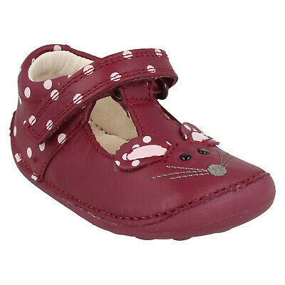 Girls Toddler Clarks Little Pip Hook & Loop Casual Shoes T Bar Leather Kids Size