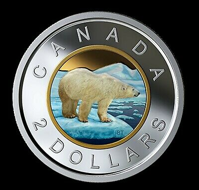 Canada 2019 Fine Silver Gold Plated Coloured Proof Toonie Two Dollar