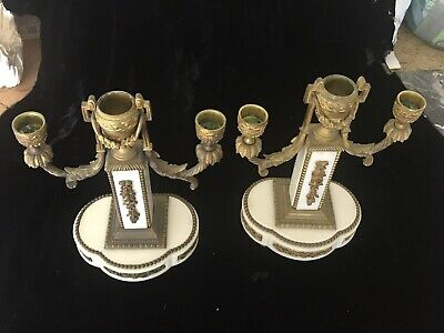 Antique 19Th Century French Gilt Bronze And Marble Footed Pair Candelabra