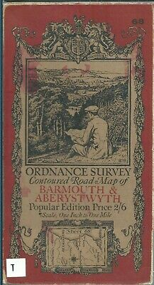 Old OS Ordnance Survey One-Inch Popular Edition Map 68 - Barmouth - 1922