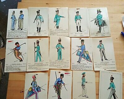 Job Lot wholesale 14 hand coloured Russian Ukraine Armey Cossacks etc Vintage