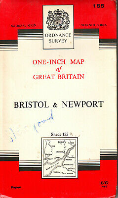 BRISTOL & NEWPORT ORDNANCE SURVEY MAP ONE INCH MAP ORIG PRICE 6/6d VGC