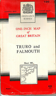 TRURO and FALMOUTH  ORDNANCE SURVEY MAP ONE INCH MAP ORIG PRICE 6/6d VGC