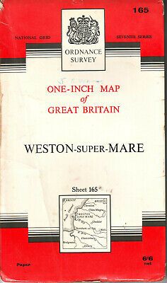 WESTON SUPER MARE ORDNANCE SURVEY MAP ONE INCH MAP ORIG PRICE 6/6d VGC