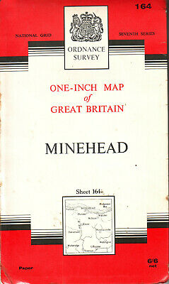 MINEHEAD ORDNANCE SURVEY MAP ONE INCH MAP ORIG PRICE 6/6d VGC