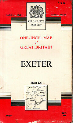 EXETER ORDNANCE SURVEY MAP ONE INCH MAP ORIG PRICE 6/6d VGC