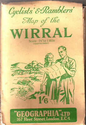 "Wirral ""Geographia"" Cyclists & Ramblers  Map Org Price 1/6"