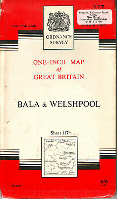 BALA & WELSHPOOL ORDNANCE SURVEY MAP ONE INCH MAP ORIG PRICE 6/6d VGC