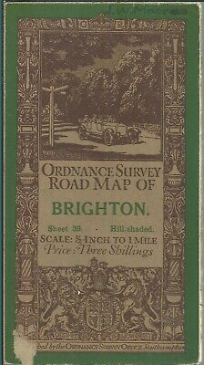 Old OS Ordnance Survey One-Inch Popular Edition Map 39 - Brighton - 1914