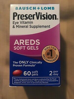 Bausch + Lomb PreserVision AREDS formula eye vitamin 60 SOFT GELS. Exp 7/2019