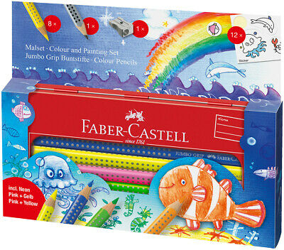 Faber-Castell Jumbo Grip Colouring Pencils - Assorted Ocean Colours (Tin of 12)