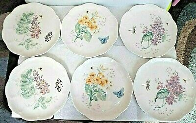 """Set of 6 Lenox """"Butterfly Meadow"""" Lunch/Salad Plates-9"""""""