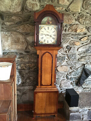 8 Day Antique 1800s Original 19th Century Grandfather Longcase Clock Vintage