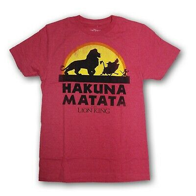 Disney The Lion King Hakuna Matata Men's Red Short Sleeve T-shirt New With Tags
