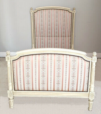 Superb Old French Upholstered Louis Xvi Style Single Capitone Bed