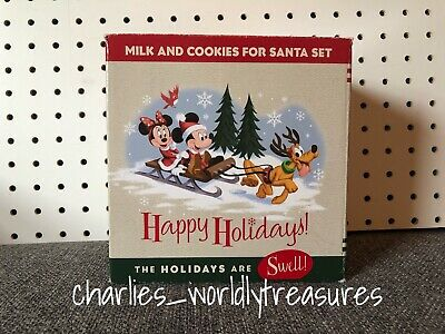 "Disney Parks Happy Holidays ""Milk and Cookies for Santa"" Set New FREE SHIPPING"