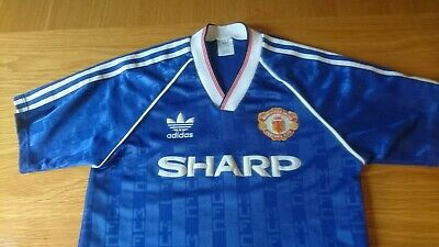Manchester United Adidas Shirt 1988 - 1990 Away Third Blue Medium